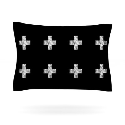 Swiss Cross by Skye Zambrana Featherweight Pillow Sham Size: Queen, Color: Black, Fabric: Woven Polyester