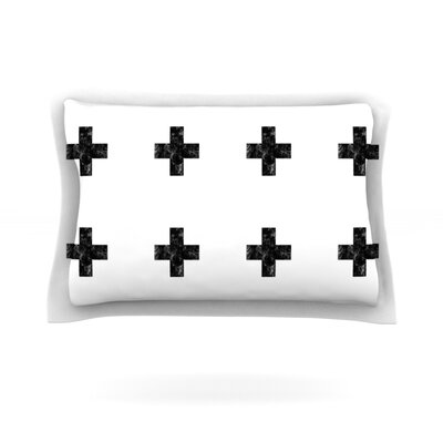Swiss Cross by Skye Zambrana Featherweight Pillow Sham Size: Queen, Color: White, Fabric: Cotton