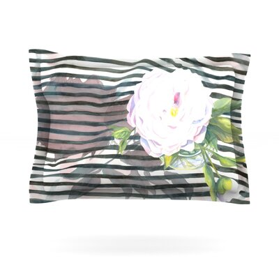 Peony n White Black by S. Seema Z Featherweight Pillow Sham Size: King, Fabric: Cotton