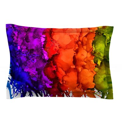 Rainbow Splatter by Claire Day Featherweight Pillow Sham Size: Queen, Fabric: Cotton