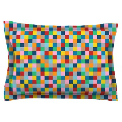 Colour Blocks by Project M Featherweight Pillow Sham Size: King, Fabric: Cotton