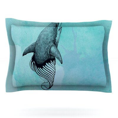 Shark Record III by Graham Curran Featherweight Pillow Sham Size: Queen, Fabric: Cotton