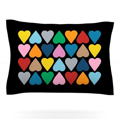 Up and Down Hearts by Project M Pillow Sham Size: King, Fabric: Cotton