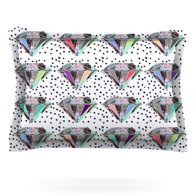 Polka Dot Diamonds by Vasare Nar Featherweight Pillow Sham Size: Queen, Fabric: Cotton