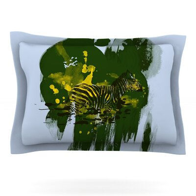 Watercolored by Frederic Levy-Hadida Featherweight Pillow Sham Color: Green, Size: Queen, Fabric: Cotton