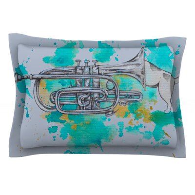 Hunting For Jazz Blue by Kira Crees Featherweight Pillow Sham Size: King, Fabric: Cotton