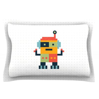 Happy Robot by Daisy Beatrice Featherweight Pillow Sham Size: Queen, Fabric: Cotton