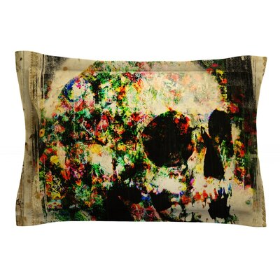 Floral Skully by Frederic Levy-Hadida Featherweight Pillow Sham Size: Queen, Fabric: Cotton