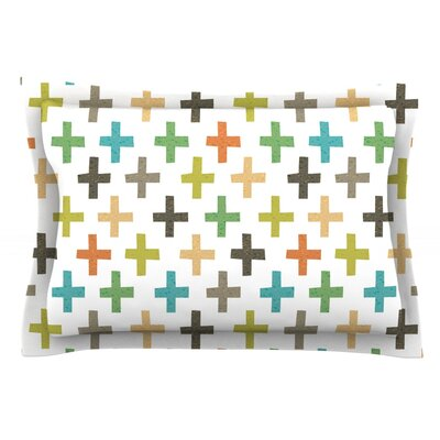 Hipster Crosses Repeat by Daisy Beatrice Featherweight Pillow Sham Size: Queen, Fabric: Cotton