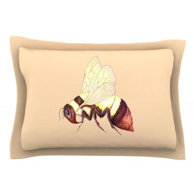 Bee Happy Beige by Catherine Holcombe Featherweight Pillow Sham Size: Queen, Fabric: Cotton
