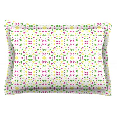 Neon Triangles by Empire Ruhl Featherweight Pillow Sham Size: King, Fabric: Cotton