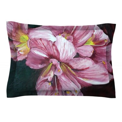 Pink Day Lily Blooms by Cathy Rodgers Featherweight Pillow Sham Size: King, Fabric: Cotton