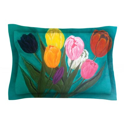 Tulips by Christen Treat Featherweight Pillow Sham Size: Queen, Fabric: Cotton