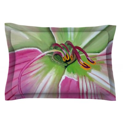Pink and Green by Cathy Rodgers Featherweight Pillow Sham Size: King, Fabric: Cotton