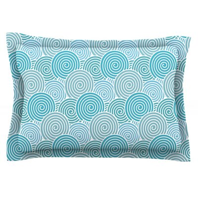 Ocean Swirl by Nick Atkinson Featherweight Pillow Sham Size: Queen, Fabric: Cotton