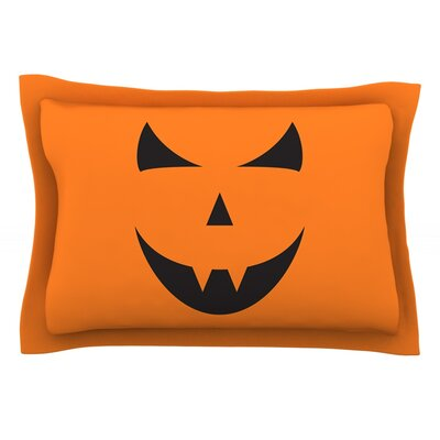 Pumpkin - Trick Featherweight Pillow Sham Size: King, Fabric: Cotton