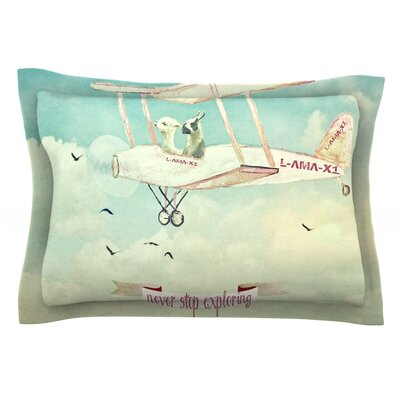 Never Stop Exploring II by Monika Strigel Featherweight Pillow Sham Size: Queen, Fabric: Cotton