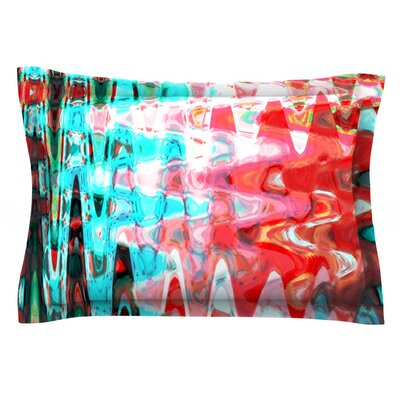 Aqua Wave by Suzanne Carter Featherweight Pillow Sham Size: King, Fabric: Cotton