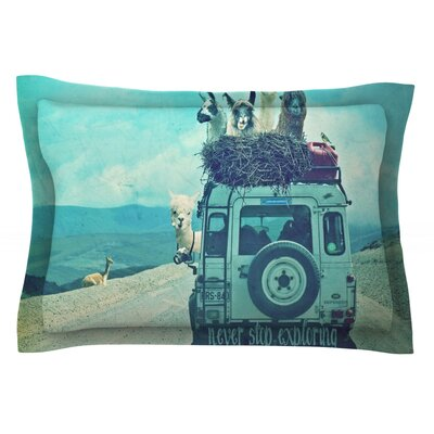 Never Stop Exploring III by Monika Strigel Featherweight Pillow Sham Size: Queen, Fabric: Cotton
