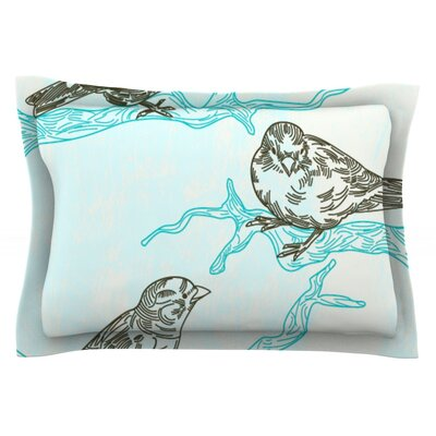 Birds in Trees by Sam Posnick Featherweight Pillow Sham Size: Queen, Fabric: Cotton