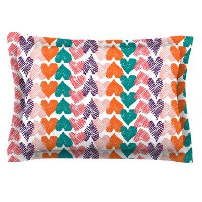 Hearts by Louise Machado Featherweight Pillow Sham Size: King, Fabric: Cotton