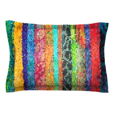 Stained Glass Batik Mosaic Stripe by Catherine Holcombe Featherweight Pillow Sham Size: Queen, Fabric: Cotton
