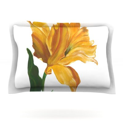 Yellow Tulip by Lydia Martin Featherweight Pillow Sham Size: Queen, Fabric: Cotton