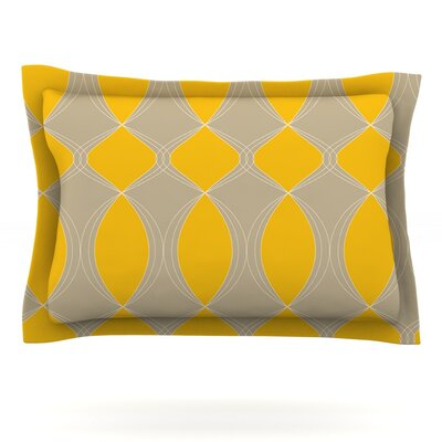 Geometries in Yellow by Julia Grifol Featherweight Pillow Sham Size: King, Fabric: Cotton