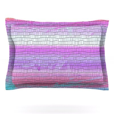 Drip Dye Warm Strid by Nina May Featherweight Pillow Sham Size: Queen, Fabric: Cotton