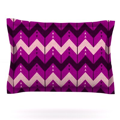 Chevron Dance by Nick Atkinson Featherweight Pillow Sham Size: King, Color: Purple, Fabric: Cotton