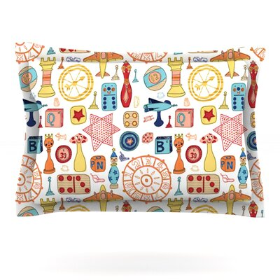 Vintage Games by Jane Smith Featherweight Pillow Sham Size: Queen, Fabric: Cotton