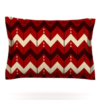 Chevron Dance by Nick Atkinson Featherweight Pillow Sham Size: Queen, Color: Red, Fabric: Cotton