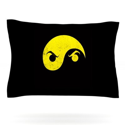 Yin Yang Ninja by Frederic Levy-Hadida Featherweight Pillow Sham Size: King, Fabric: Cotton