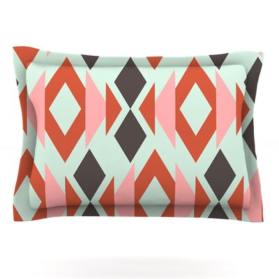 Coral Mint Triangle Weave by Pellerina Design Featherweight Pillow Sham Size: King, Fabric: Cotton