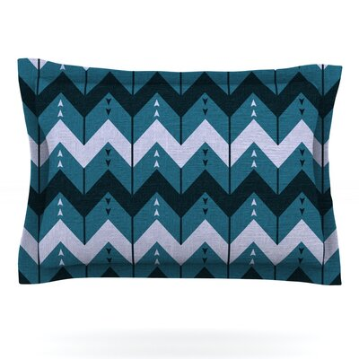 Chevron Dance by Nick Atkinson Featherweight Pillow Sham Size: Queen, Color: Blue, Fabric: Woven Polyester