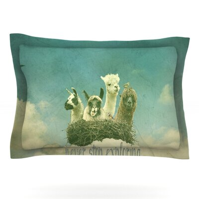 Never Stop Exploring by Monika Strigel Featherweight Pillow Sham Size: Queen, Fabric: Cotton