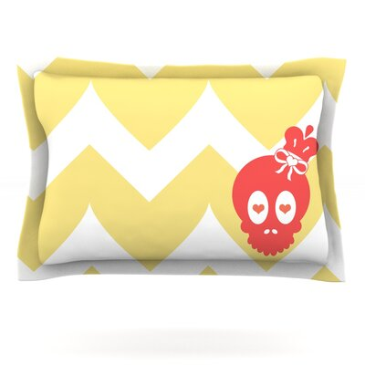 Skull II by Nick Atkinson Featherweight Pillow Sham Size: Queen, Fabric: Cotton
