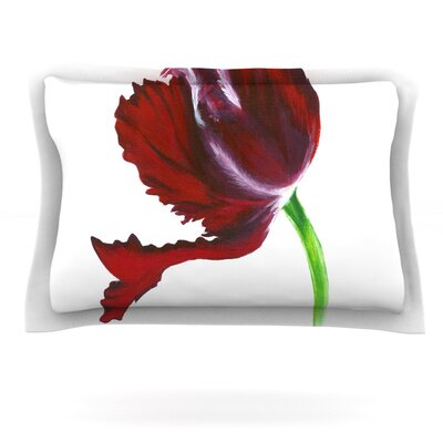 Dark Purple Tulip by Lydia Martin Featherweight Pillow Sham Size: King, Fabric: Cotton