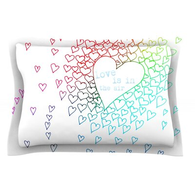 Rainbow Hearts by Monika Strigel Featherweight Pillow Sham Size: Queen, Fabric: Cotton