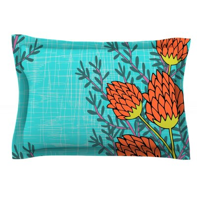 Red Flowers by Nandita Singh Featherweight Pillow Sham Size: Queen, Fabric: Cotton