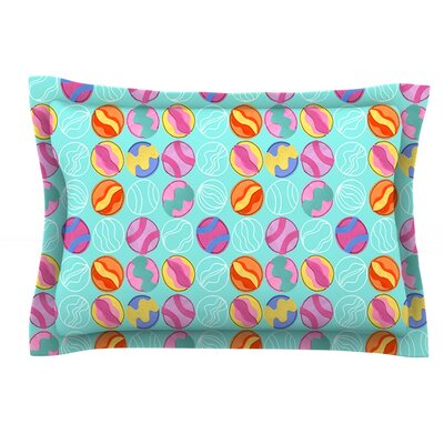 Vintage Playground III by Jane Smith Featherweight Pillow Sham Size: Queen, Fabric: Cotton