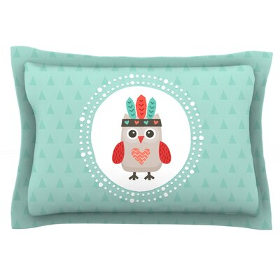 Hipster Owlet Mint Coral by Daisy Beatrice Featherweight Pillow Sham Size: Queen, Fabric: Cotton