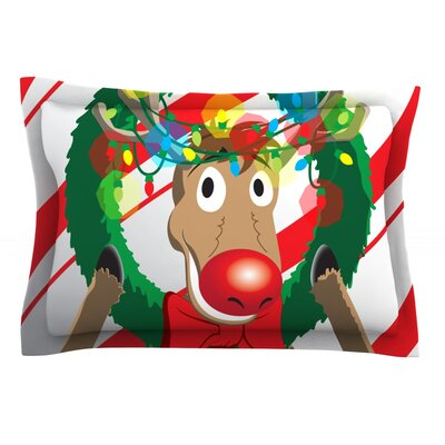 Reindeer Featherweight Pillow Sham Size: Queen, Fabric: Cotton