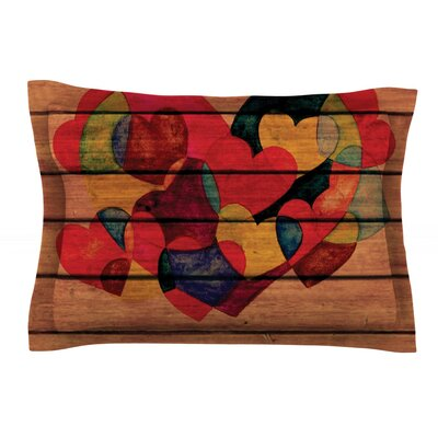 Wooden Heart by Louise Machado Featherweight Pillow Sham Size: Queen, Fabric: Cotton
