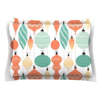 Mixed Ornaments Featherweight Pillow Sham Size: Queen, Color: Orange/Teal, Fabric: Cotton
