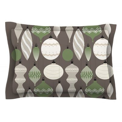 Mixed Ornaments Featherweight Pillow Sham Size: Queen, Color: Brown/Green, Fabric: Cotton