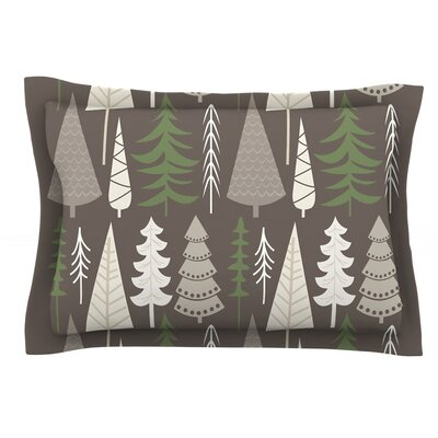 Happy Forest Featherweight Pillow Sham Size: Queen, Color: Brown/Green, Fabric: Cotton