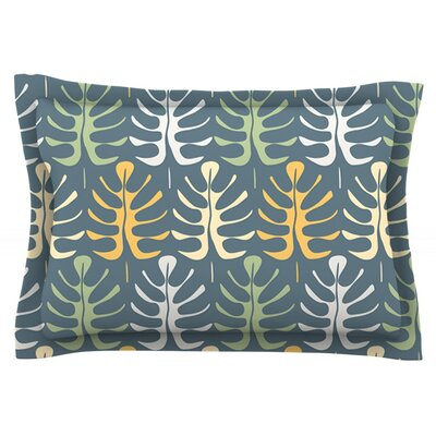 My Leaves on Blue by Julia Grifol Featherweight Pillow Sham Size: Queen, Fabric: Cotton