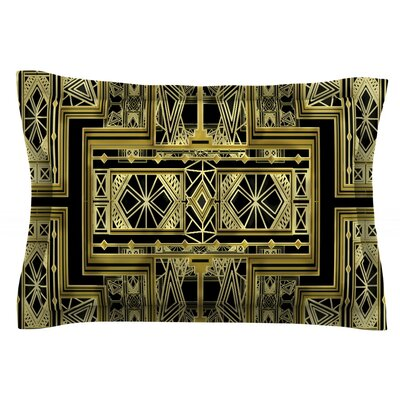 Golden Art Deco by Nika Martinez Featherweight Pillow Sham Size: Queen, Fabric: Cotton