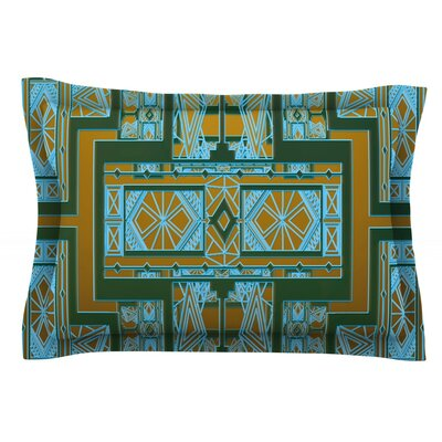 Golden Art Deco by Nika Martinez Featherweight Pillow Sham Size: Queen, Color: Green/Blue, Fabric: Cotton